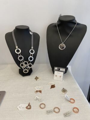 Necklace and pendant, brooches